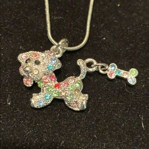 Jewelry - New Necklace with crystal Dog with Bone charm